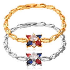 Cute Colorful Four Leaves Charm Bracelet Gold Plated Link Chain Zirconia Jewelry