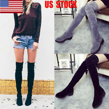 US Womens Over The Knee Low Block Heel Thigh High Boots Flats Stretch Shoes Size