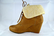 Ladies Ankle Boots Wedge Heel Tan Lace Up Size 36-41 A.61