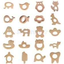 Natural Wooden Animal Shape Teething Ring Baby Teether Teething Toy Shower Gift