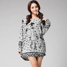 Women Plus Size Long Sleeve Fashion Round Neck Print Tunic Top Mini Dress