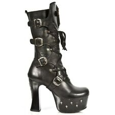 New Rock Womens M.DK025-C10 Black Cow Leather Boots - Punk,Goth,Shoes - [SO]