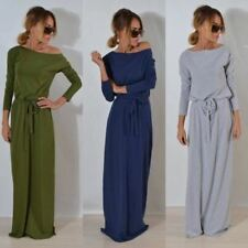 Women Long Sleeve One Side Off Shoulder Loose Solid Color Long Maxi Dress