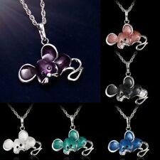 Charm Women Lucky Jewelry Colorful Animals Crystal Silver Pendant Necklace Chain