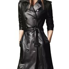 Womens Belted Mac Buckled Overcoat Ladies Leather Trench Coat AU sz 6-18