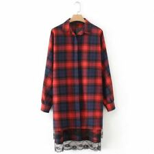 Women Vintage Style Lace Decorated Turn-down Collar Checked Shirt Dress
