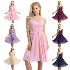 Elegant Women Chiffon Sleeveless Lace Dress Prom Wedding Party Evening Ball Gown
