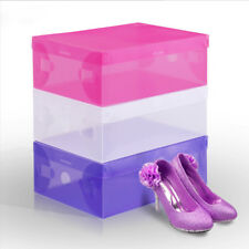 Foldable Clear Plastic Storage Shoe Organizer Boxes Stackable Tidy BOX