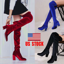 US Womens Velvet Over The Knee Boots High Heels Pump Clubwear Stretch Shoes Size