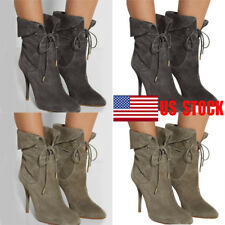Women Lace Up Ankle Boots High Stiletto Heels Pointed Toe Cocktail Shoes Size US