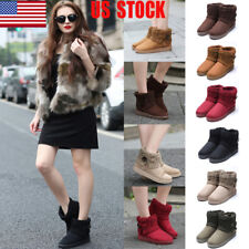 US Womens Weave Knitted Snow Ankle Boots Flats Warm Winter Casual Ski Shoes Size