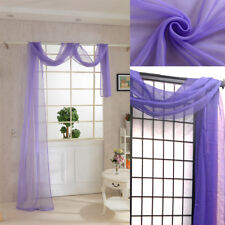 """32""""x216"""" Fresh style Solid Color Sheer Voile Scarf Valance Window Scarves Decor"""