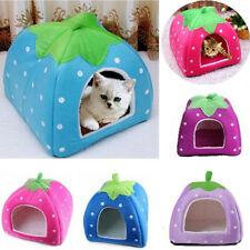Cute Pets Cat Dog Cushion Bed Warm Strawberry Puppy Kennel House Igloo Cave Hot