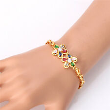 Colorful Zirconia Flower Charm Bracelet Gold Plated Link Chain Jewelry for Girls