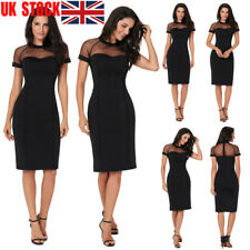 Women Mesh Fitted Vintage Patchwork Elegant Party Cocktail  Midi Pencil Dress UK