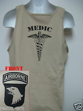 101ST AIRBORNE TANK TOP/ MEDIC /  MILITARY TAN / ARMY / NEW