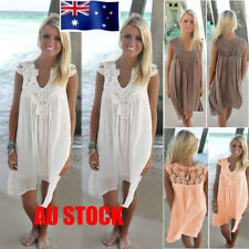 AU Womens V-neck Lace Frill Sundress Chiffon Summer Beach Short Mini Shift Dress
