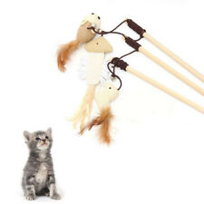 Funny Kitten Play Interaction Toy Cat Teaser Wand Assorted Linen Mouse Toy RO