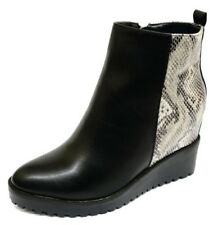 LADIES BLACK SNAKE WEDGE ZIP ANKLE CALF COMFY CASUAL PLATFORM BOOTS SHOES 3-8