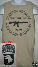 101ST AIRBORNE RANGER T-SHIRT/ IRAQ COMBAT OPS/ MILITARY TAN / ARMY / NEW