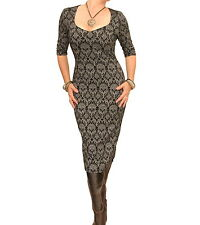 Black and Grey Jacquard Stretch Shift Dress - Sweetheart Neckline
