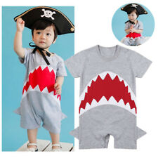 Infant Baby Boy Short Sleeves Cute Shark Romper Jumpsuit Outfit Bodysuit Clothes