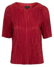 Ex Topshop Red Burgundy Cropped Ribbed Crinkle Tee T-Shirt Top Size 10 12 14