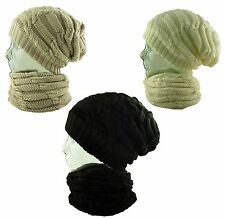 Itzu Unisex 3 in 1 Chunky Slouch Beanie Neck Face Scarf Warmer Snood Cap Hat
