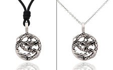 Dragon Ying Yang Silver Pewter Charm Necklace Pendant Jewelry