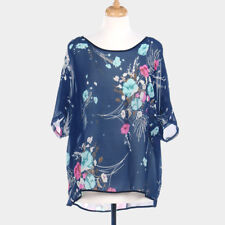 Amtal Women Bohemian Floral Print Poncho Sleeve Loose Blouse Cover Up Top