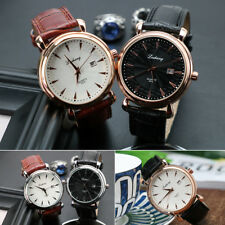 Men Stainless Steel Luxury Quartz Analog Watch Leather Band Wrist Watches