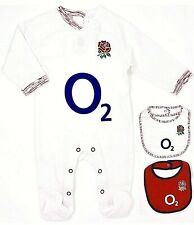 ENGLAND RFU RUGBY O2 KIT BABIES PRAM SLEEP SUIT BABY 6 NATIONS GROW BODY ROMPER