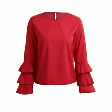 Women New Fashion Summer Black Blue Pink Red Color Long Sleeve Blouse