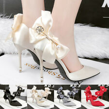 Pointed Toe High Heel Party Stiletto Shallow Pump Bowknot Sandal Womens Shoes