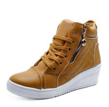 LADIES TAN WEDGE ANKLE BOOTS HI-TOP CASUAL TRAINER COMFY SHOES PUMPS UK 3-8