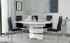 Komoro & Leon High Gloss Dining Room Table and 4 6 Chairs Set - Black