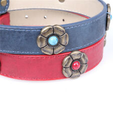 Small Pet Cats Dogs Flower Gem Genuine Leather Adjustable Collar Gift