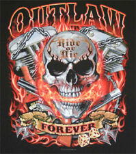 Outlaw Forever Biker Flames Skull and Pistons Biker T shirt TOTAL CLOSEOUT