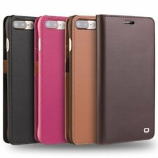 Genuine QIALINO Leather Slim Flip Cover Case Fr iPhone 7 Plus Card Holder Wallet