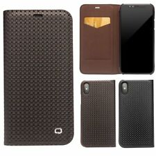 Real QIALINO Cowhide Leather Slim Flip Case Cover Armor Card Holder For iPhone X