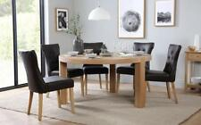 Brighton & Bewley Round Oak Dining Table and 4 6 Leather Chairs Set (Brown)