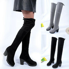 Women Stretch Thigh High Over Knee Boot Block High Heel Suede Pull On Boot Shoes