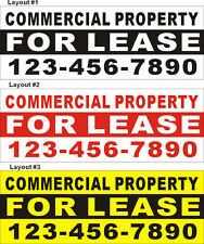 3ftX8ft Custom Printed COMMERCIAL PROPERTY FOR LEASE Banner with Your Phone #