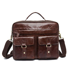 "14"" Briefcase Attache Shoulder Messenger Bag Laptop Bag Genuine Leather Business"