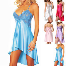 Womens Sexy/Sissy Lace Babydoll Lingerie Satin Nightwear Nightie Chemise White