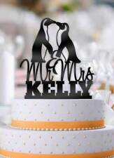Personalized Penguins with Name Wedding Cake Topper