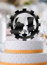 Steampunk Cafe Love Couple Gear Wedding Cake Topper