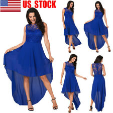 Women Floral Lace Sleeveless Gown Party Clubwear Irregular Maxi Swing Full Dress