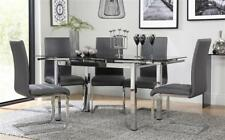 Space Chrome & Black Glass Extending Dining Table - with 4 6 Perth Grey Chairs