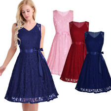 Women V Neck Lace Formal Cocktail Dress Evening Party Bridesmaid Short Mini Prom